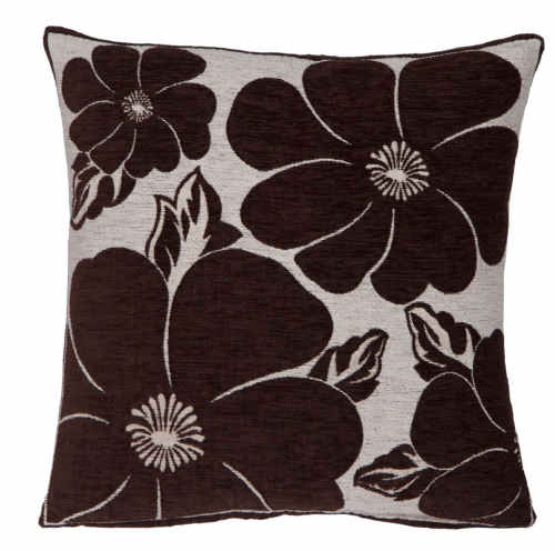 TRENDY STYLISH CHENILLE POPPY FLORAL DESIGN FILLED CUSHION BROWN COLOUR